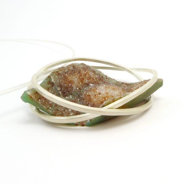 bateau  - colgante  plata + piedra natural