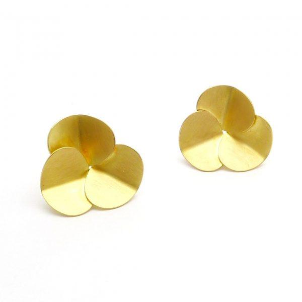 trebol - pendientes Au 750 amarillo (2)
