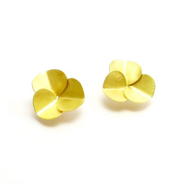 trebol - pendientes Au 750 amarillo